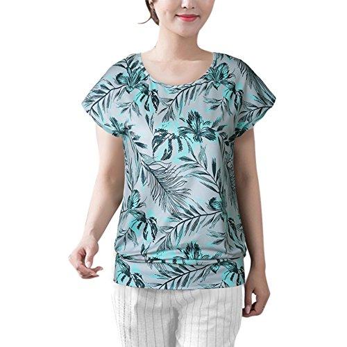 ROPALIA Damen Drucken Blatt Sommer Strand Beiläufiges T-Shirt Spitzenbluse Light Green