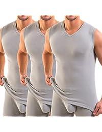 Hermko 3050 - Camiseta sin mangas, 3 unidades, para hombre, de pico (
