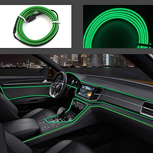 USB Neon EL Wire per interni auto Festival Decorazione LED incandescente filo elettroluminescente Luce luci fredde con Drive Light Lampada Glow String Strip 12V( 2m+Green)