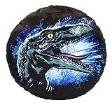 Jurassic World 75457 Blue rundes Plüschkissen-beidseitig Bedruckt-Durchmesser: 32 cm