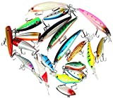 Bass Fishing Lures Kits Bait Topwater Fishing Lures Package Crankbaits Hooks Including 20pcs Fishing Lures for Freshwater or Saltwater by Yier