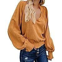 ¡Gran promoción!Camisas de Mujer Primavera Otoño Pliegue Diario Sólido Manga Larga Cuello en V Suelto Tops Blusas Casuales★Rovinci★