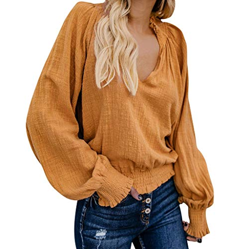 Geilisungren Bluse Frauen Herbst Elegant Falten Rüschen T Shirt Damen Langarm V-Ausschnitt Pullover Tops Lose Einfarbige Oberteile Baumwolle Leinen Langarmshirt Hemd