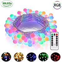 Battery Powered Fairy Lights, 50 LED Multicolour Globe String Lights, 8 Modes, Remote Control & Timer, Waterproof Indoor Outdoor Decorative Lights for Christmas Tree Wedding Party Bedroom, 18 FT