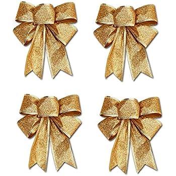 24 PCS D/écoration de Sapin Suspendu N/œud Bowknot Ornement de Arbre No/ël Noeud Papillon enTissu Or