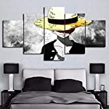 BOYH 5 Stück Drucke auf Leinwand,One Piece Animiertes Charakterplakat Wall Art HD Home Decor Dekoration Poster,B,20×35×2+20×45×2+20×55×1