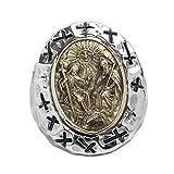 Epinki Anello Argento 925 Gotico Gesù Cristo Croce Anello per Uomo Misura 22 Fantasia per Matrimonio e Anniversario