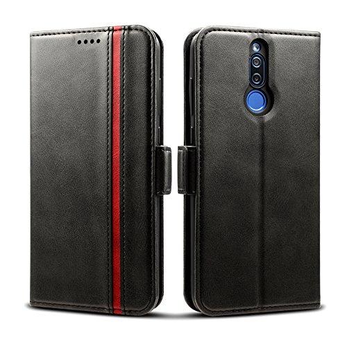 Rssviss Huawei Mate 10 Lite Hülle, Premium Handyhülle Huawei Mate 10 Lite Ledertasche Flip Case Schutzhülle Brieftasche Etui für Huawei Mate 10 Lite Handyhülle,6 Zoll,Schwarz (W5)