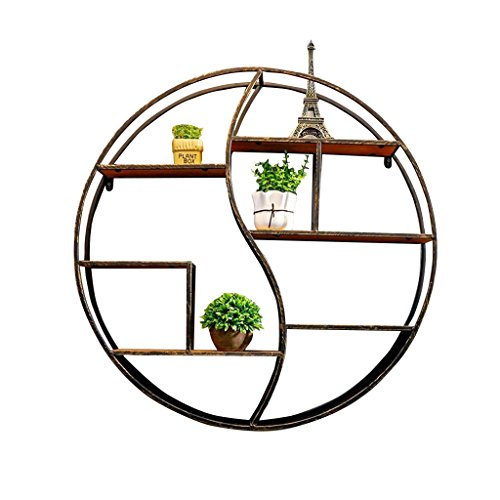 Étagère murale en fer forgé en bois pour salon de bar | LOFT - Étagère murale en forme de cube pour chambre à coucher comme étagère de rangement pour étagère | Floating Unit Frame comme décoration murale Design Vintage style industriel (Noir) ( taille : 60*12*60cm )