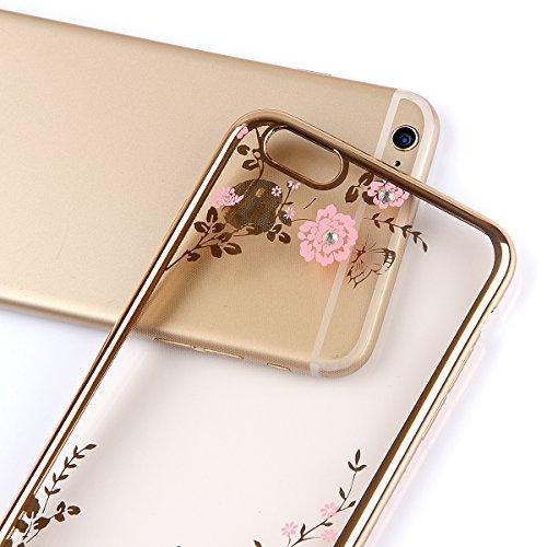 Custodia in Molle Rubber per Apple iPhone 7 4.7(NON iPhone 7Plus 5.5), CLTPY Particolari Speciale Plating Frontiera Chiaro Caso Morbido con Shiny Flash Rhinestone Design, Ultra Fine Elegante di Luss Fiori Rosa
