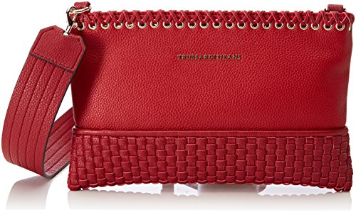 Trussardi Jeans Damen Mimosa Smooth Ecoleather Pochette Bag Clutch, Rot (Red), 6x8x28.5 Centimeters