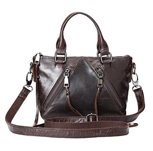Leder Handtasche Umhängetasche Handtasche Diagonale Paket Tasche Mode Öl Wachs Leder Retro Tasche,Brown-OneSize