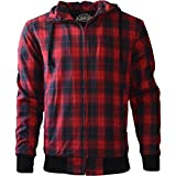 King Kerosin Biker Hoodie Kevlar Red Check XL