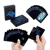 kigins kigins Pokerkarten Schwarz Spielkarten aus PVC Kunststoff-Karten Plastikkarten Poker Cards Wasserdicht Poker Deck Kartenspiele