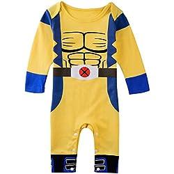 Wolverine X-Men de Boy para bebé Pelele de cómics de superhéroe fiesta disfraz/disfraz/disfraz de reproducción amarillo Yellow Blue Talla:18-24 meses