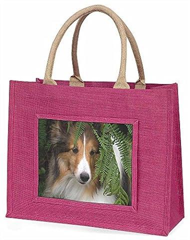 Shetland Sheepdog Large Pink Shopping Bag Christmas Present Idea