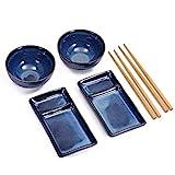 Urban Lifestyle Sushi Set Misaki Marinblau für Zwei Personen, 2 Sushi-Teller, 2 Schalen aus Keramik, 2 Paar Essstäbchen aus Bambus