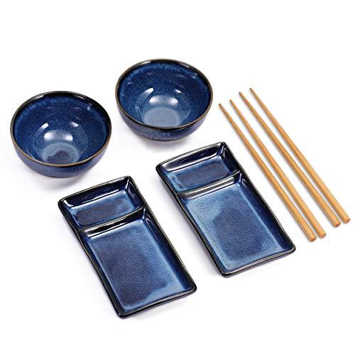 Diseño Sushi Set en azul/negro schattierter producto consta de dos platos de sushi con ausnehmung para salsa de soja y wasabi, o dos cuencos para sopa de miso arroz, y dos pares de palillos de bambú. los platos y cuencos son de cerámica, una hermosa ...