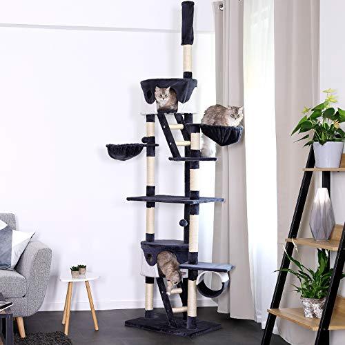 Katzenkratzbaum, Kratzbaum für Katzen, deckenhoch (höhenverstellbar mit Deckenspanner) 240-260 cm (grau / weiß) - 2