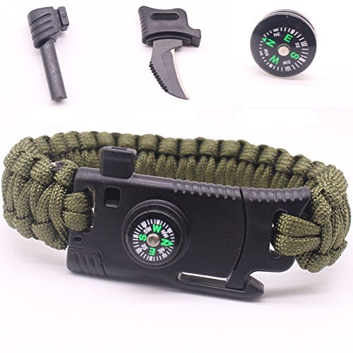 ProtosIndia.NetTM Paracord Bracelet Compass, Stainless Steel Knife, Fire Starter, Whistle Multi Funcational Survival Kit for Hiking Travelling Camping