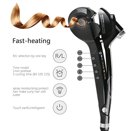 Pinzas Rizadoras iFanze Rizador de Pelo Automático de Vapor con 3 Temperatura Ajuste 3 Tiempo Ajuste Consigue Rizos Bucles y Todo Tipo de Ondas Negro