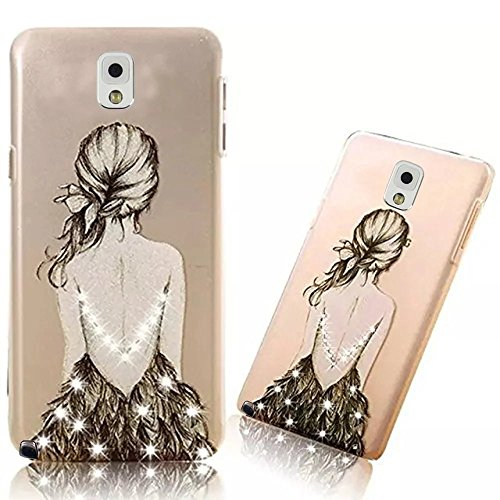 Samsung Galaxy Note 3 Transparent PC Case Couverture Ultra-mince Motif Coréen Shell Housse Samsung Galaxy Note 3 Etui Shock-Absorption Bumper et Anti-Scratch Effacer Back Hull Cover,Vandot Samsung Galaxy Note 3 Coque PC Plastique Dur Hard Bumper-Croquis de fille