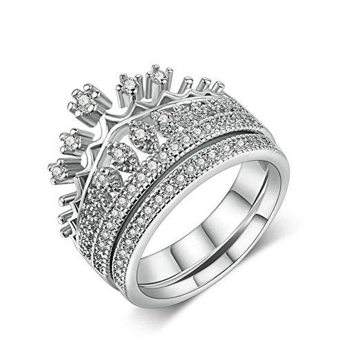 QINGZHOUQI Verlobungsring for Frauen Crown Hollow 2Pcs stapelbare Weißgold vergoldet CZ Diamond Ring Set Ehering (Color : T, Größe : US7#) (Cz Größe 9 Sets, Ehering)
