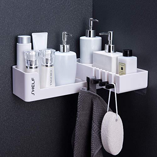 Zunto mensola angolare della organizzatore mensoladoccia - autoadesivo mensola bagno girevole mensole angolo con 4 ganci, adatto a bagni e cucine