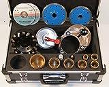 Bohrkronenset, Set6_Diamant Bohrkronen Set. 15 teilig. Premium CeramicSet Mittel. Aufnahme M14 für den Winkelschleifer. Schneidet: für alle Materialien einsetzbar.