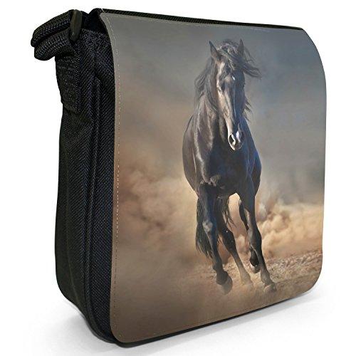 Beauty cavallo e stallone, colore: nero, Borsa a tracolla in tela, colore: nero, taglia: S Nero (Black Stallion Running In Sand)