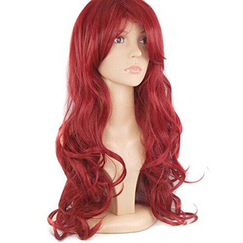 HSG cosplay populaire bangs vives longueur d'épaule bouclés perruques de cheveux longs pour les femmes avec Cap perruque gratuit TF268