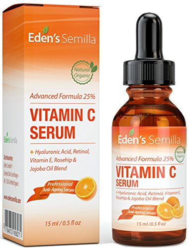 25{b55ba0fbcb0ce36ba46a260c22cae9e894f4a78ea9af260eb4be770299a6a06f} VITAMIN C SERUM 15ml - EINE LEISTUNGSSTARKE, HOCHENTWICKELTE FORMEL- Hyaluronsäure, Retinol, Vitamin E und eine Hagebutten - & Jojobölmischung. Das beste Anti-Aging Serum für das Gesicht- es fördert die natürliche Schutzbarriere der Haut, ersetzt verlorengegangene Feuchtigkeit und reduziert dramatisch feine Linien und Fältchen. Eine natürliche Mischung an klinisch geprüften Inhaltsstoffen. Festerere, weichere gesünder aussehende Haut...