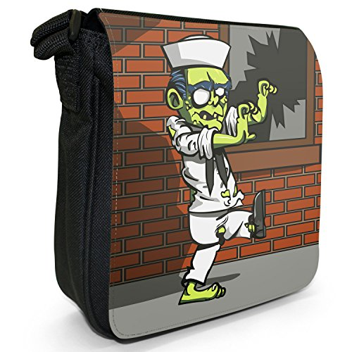 Zombie Plague-The Living Dead-Borsa a spalla piccola di tela, colore: nero, taglia: S Nero (Navy Sailor Zombie)