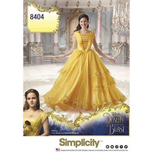 Semplicità modello 8404Disney La Bella e la Bestia costume per donne, carta, bianco, 22x 15x 1cm
