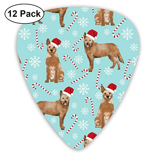 Australian Cattle Dog Red Heeler Dog Breed Christmas Peppermint Sticks Candy Canes Icy Blue Classic Celluloid Picks, 12-Pack, For Electric Guitar, Acoustic Guitar, Mandolin, And Bass