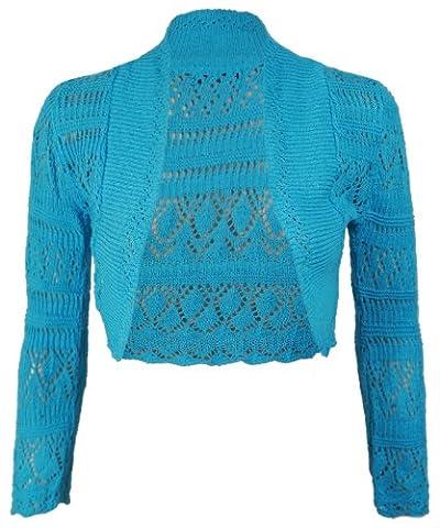 Purple Hanger - Boléro Tricot Manche Longue Crochet Court Ouvert Cardigan Neuf - EU 36 - 38, Turquoise