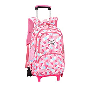 Vbiger Girls Wheeled Backpack Adorable Trolley School Bag for Primary School