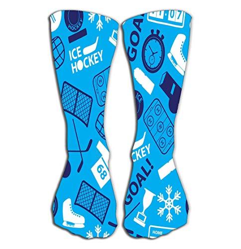 Outdoor Sports Men Women High Socks Stocking Ice Hockey Sport Icons Blue eps Positive Tile Length 19.7