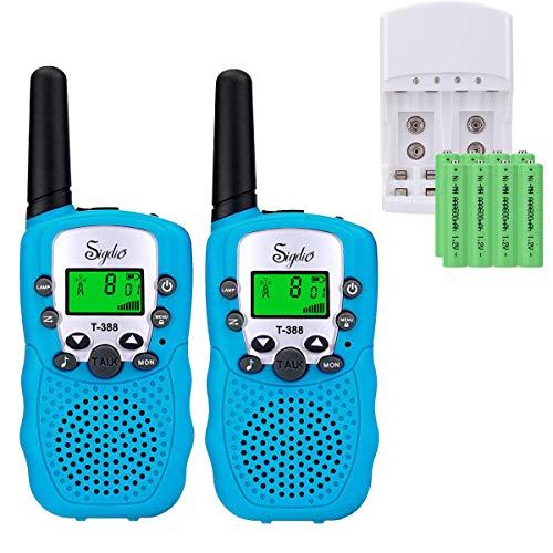 Talkie Walkie pour Enfants PMR 446 Talkies Walkies avec Batteries rechargeable et Chargeur Talky Walky Enfants Talkie-Walkies Talki Walki Flashlight VOX 8 Canaux 0.5W (1 Paire, Bleu)
