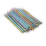 Rayures colorées Manche crayon Flexible Bendy souple Crayons à papier avec gomme Lot de 30