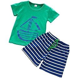 Ropa de Niño Verano K-youth® 2PC Conjuntos Niño Ropa Bebe Niño Camiseta Manga Corta T-shirt Tops y Rayas Pantalones Cortos Conjunto de ropa de deporte 1-5 Años (Verde, 3-4 años)