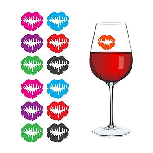 OYJJ Weinglas-Aufkleber, 6 Stück, spezielles Weinglas-Etikett aus Silikon, zufällige Farbe