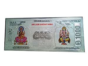 10gms Laxmi Ganesh pure silver laminated note (envelope packing) : 17cm*7cm(W*H)   Best gift