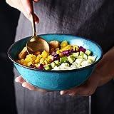 DLewiee Cucina Creativa Cibo Insalata Di Frutta Ciotola Grande Ciotola In Ceramica Blu Dip Bowl Ciotola per Servire Lavandino Ciotola 7 Pollici