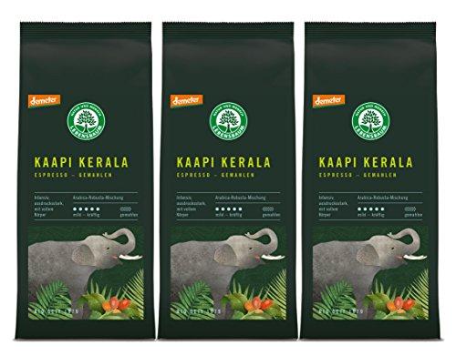 Lebensbaum Espresso Kaapi Kerala, gemahlen, demeter, 3er Pack (3 x 250 g)