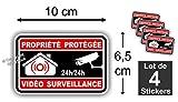 Sticker / Autocollant Alarme Vidéo Surveillance ( Lot de 4 stickers ) Alm Noir