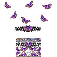 Pegatina animal mirada cromada de plata de la etiqueta de la pequeña mariposa de la mariposa para las caravanas del coche Camiones y barcos ST00021SL_SML - etiquetas engomadas de JAS