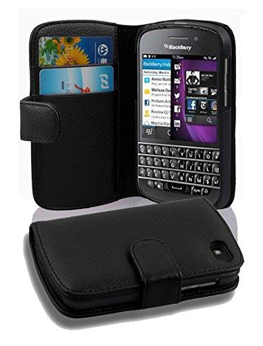 Cadorabo Hülle für BlackBerry Q10 - Hülle in Oxid SCHWARZ - Handyhülle mit Kartenfach aus struktriertem Kunstleder - Case Cover Schutzhülle Etui Tasche Book Klapp Style