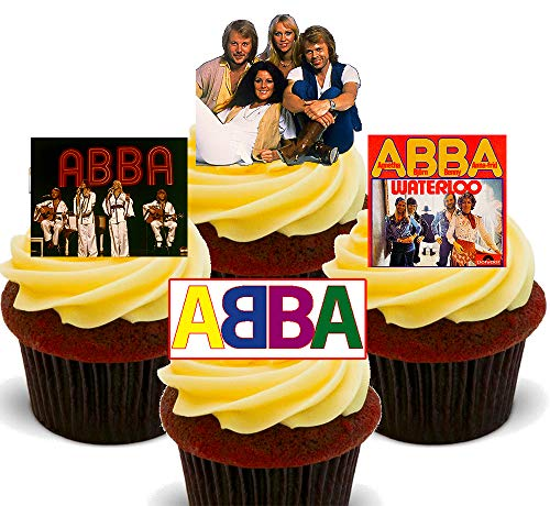 Edible ABBA Cupcake Toppers - Stand-up Wafer Cake Decorations (24)
