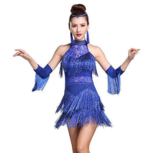 Damen tanzen Rock Damen Halfter Strass Spitze Quaste Flapper Latin Dance Kleid Outfit mit Ärmeln Erwachsene Rumba Tango Ballsaal Dancewear Stage Performance Dance Kostüm ( Farbe : Blau , Größe : L ) (Jazz Kostüm Zum Verkauf)